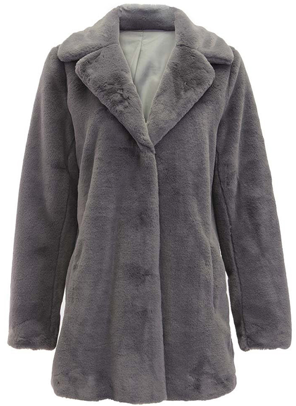 Dolce Cabo Faux Fur Long Coat 74871 Grey m l