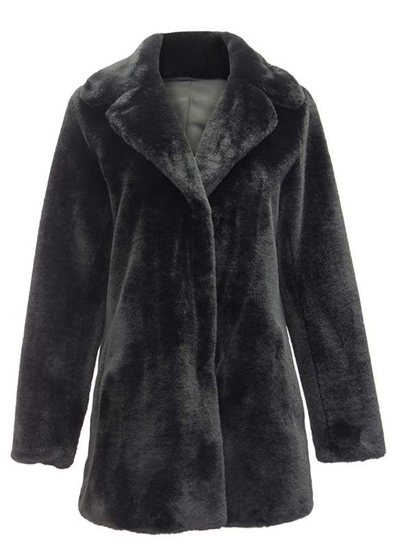 Dolce Cabo Faux Long Coat 74871 Black s m l