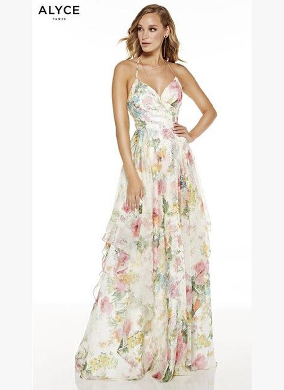Alyce Paris Chiffon Floral Print Gown