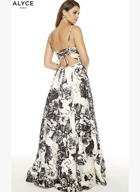 Alyce Paris Jacquard Print Gown