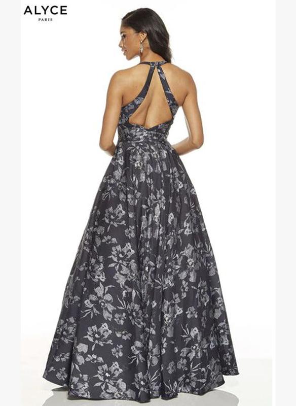 Alyce Paris Jacquard Print Gown – Midnight
