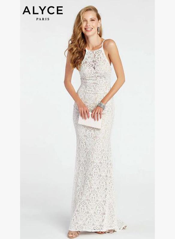 Alyce Paris Lace V Neck Gown1