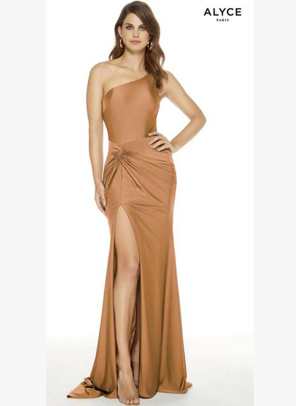 Alyce Paris One Shoulder Jersey Gown – Honey