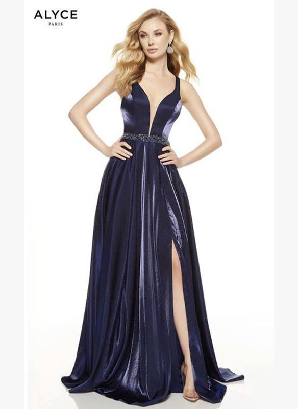 Alyce Paris Shimmer Satin Aline Gown – Navy