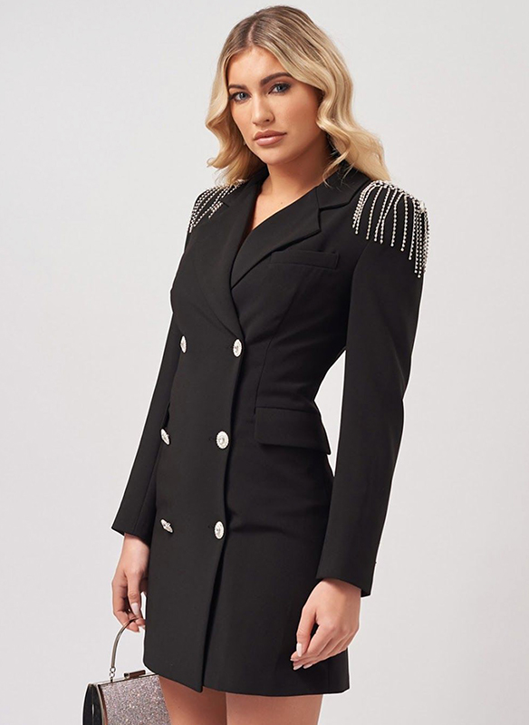 Forever Unique Rhinestone Coat Dress