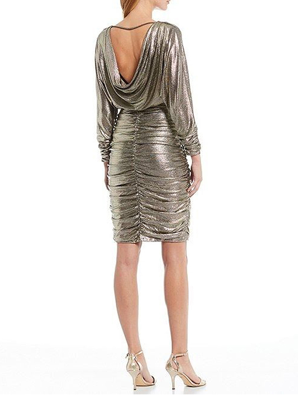Eliza J Metallic Foil Dress