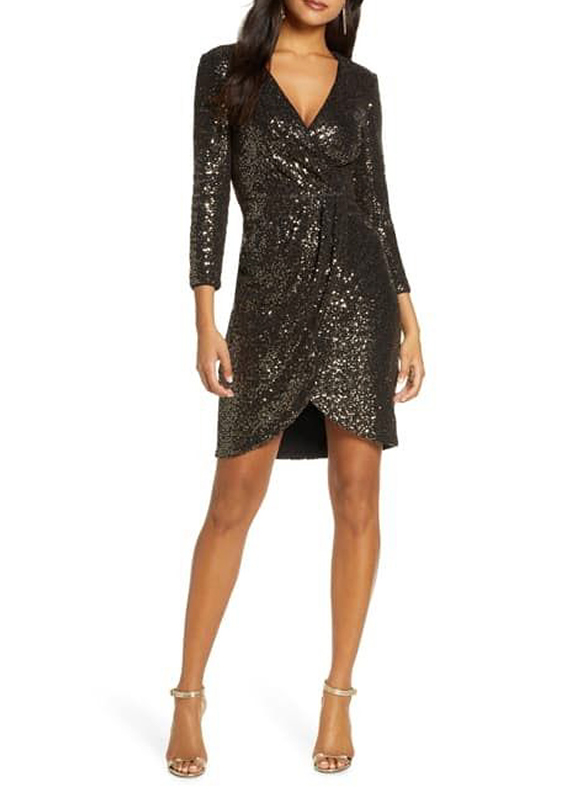 Eliza J Sequined Faux Wrap Dress