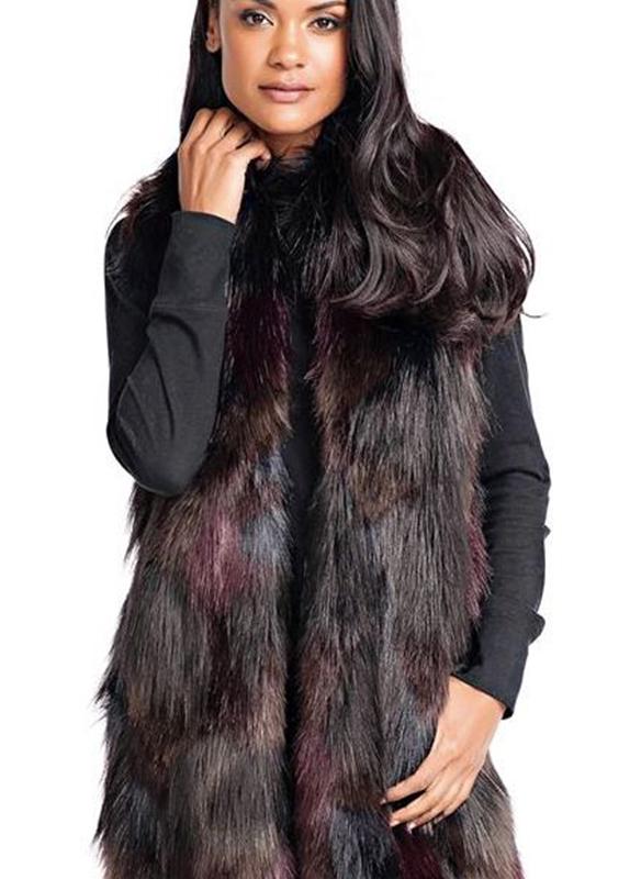 Fabulous Furs Faux Fur Mosaic Vest