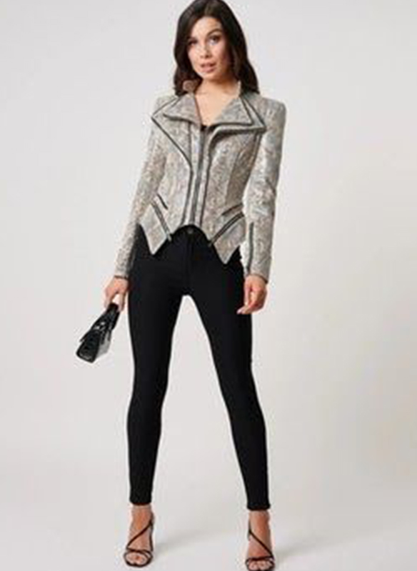 Forever Unique Faux Leather Snakeskin Moto Jacket