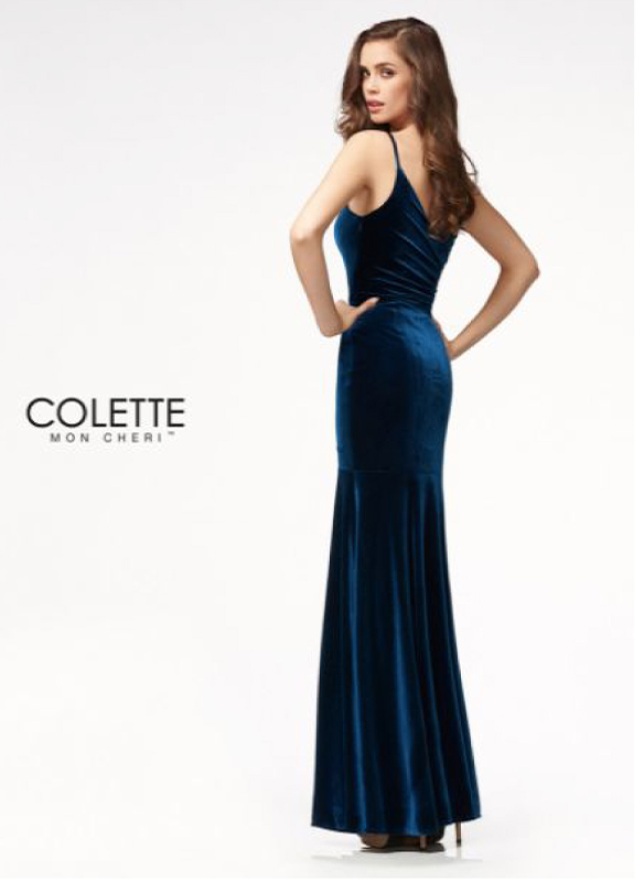Colette Velvet Gown – Navy