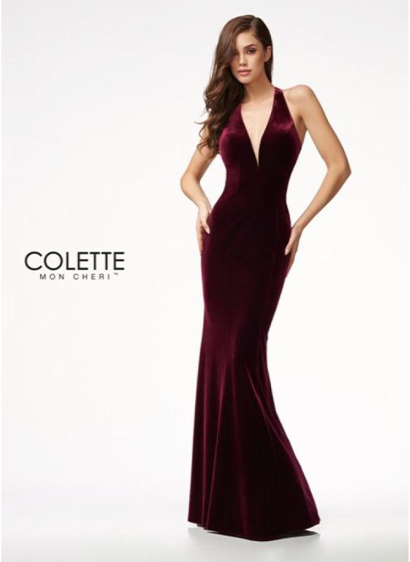 Colette Velvet Gown – Cranberry