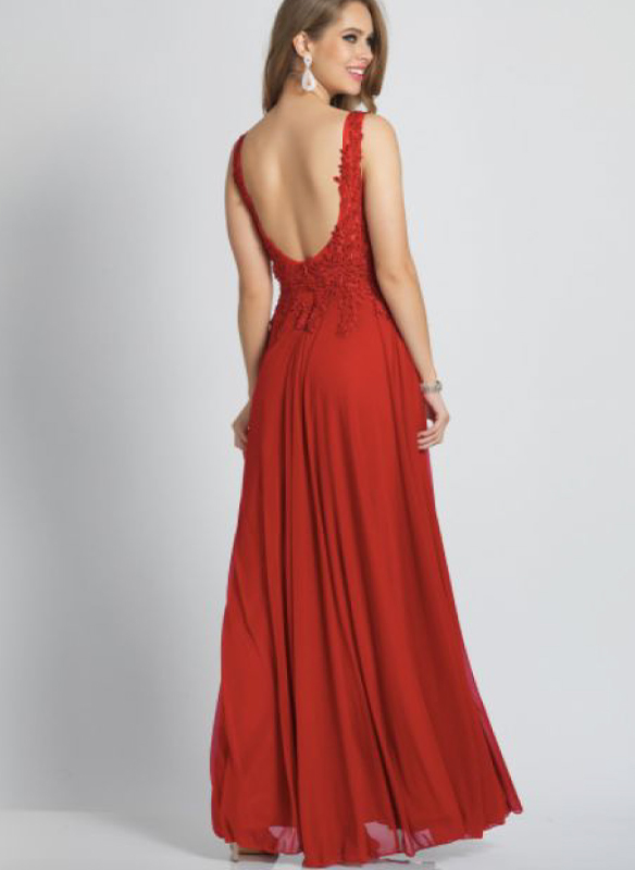 Dave and Johnny Chiffon Gown – Red