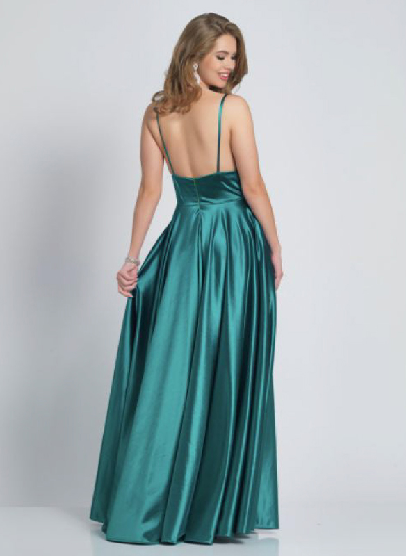 Dave and Johnny Satin Gown – Emerald