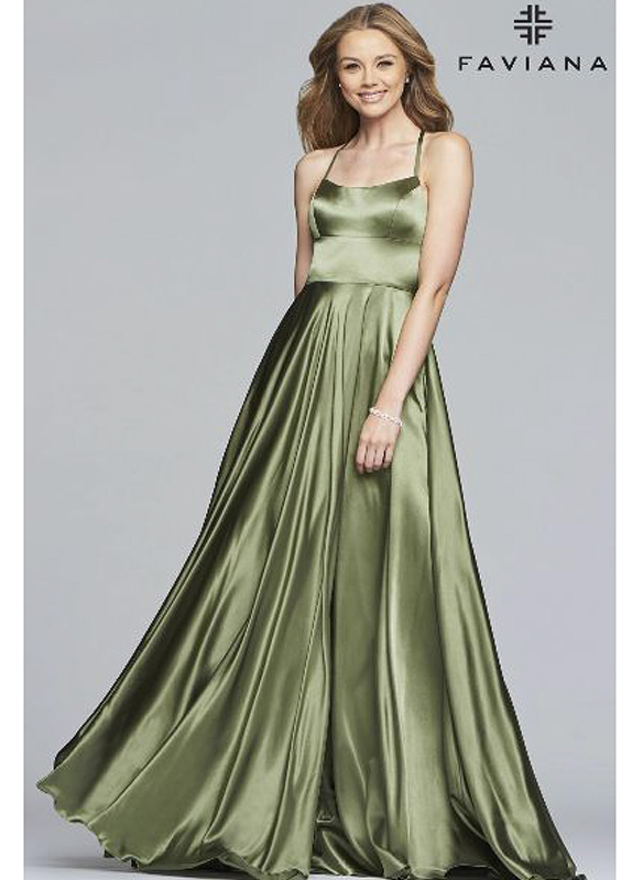 Faviana Charmeuse Gown – Green