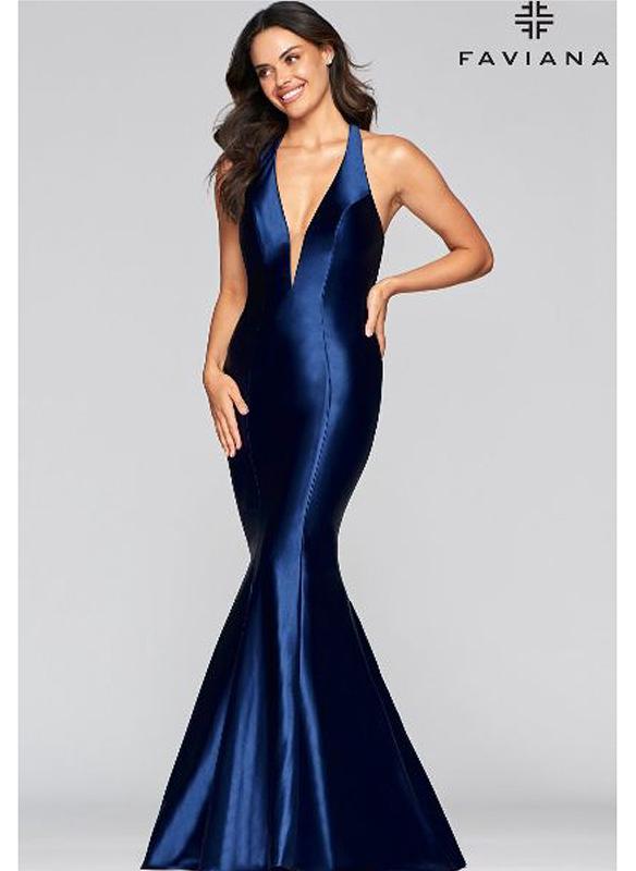 Faviana Satin Gown – Navy