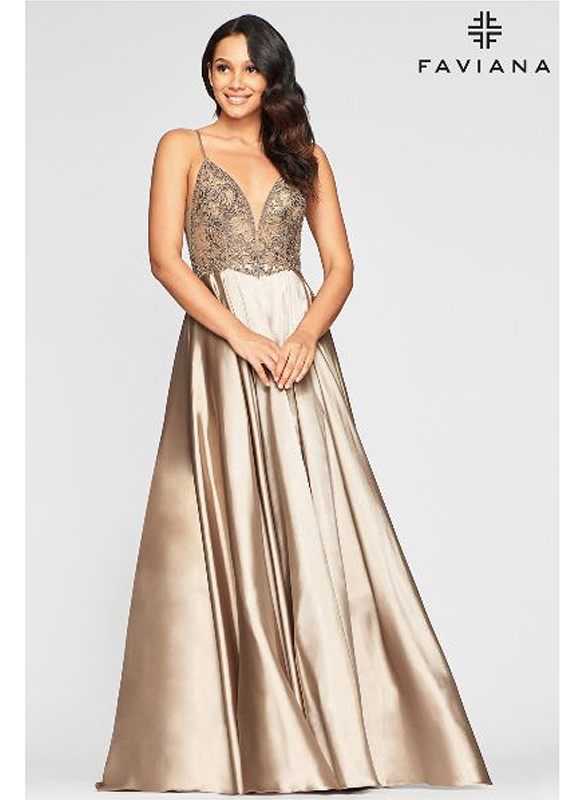Faviana Charmeuse Ball Gown