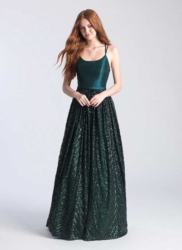 Madison James Sequin A-line Gown – Green