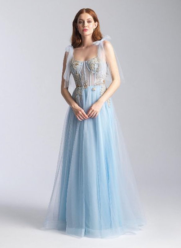 Madison James Tulle Gown – Light Blue