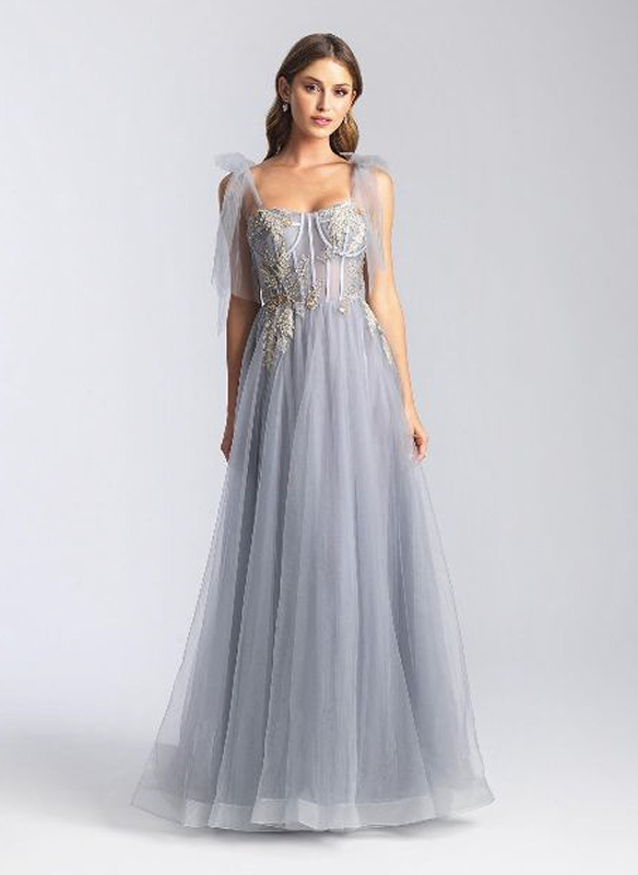 Madison James Tulle Gown – Grey