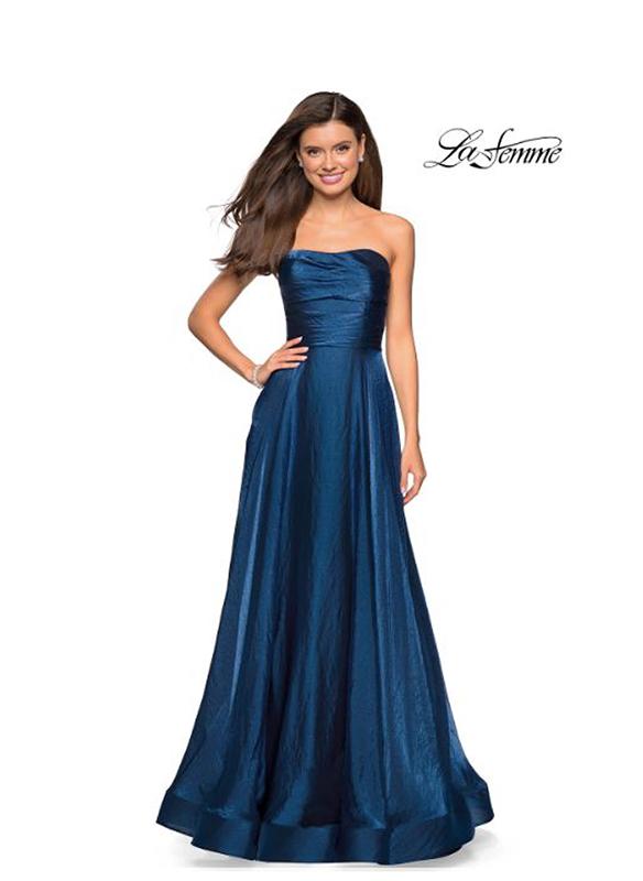 La Femme Strapless A-line Gown