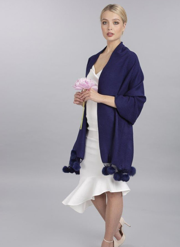 Jayley Cashmere Shawl with Coney Pompoms