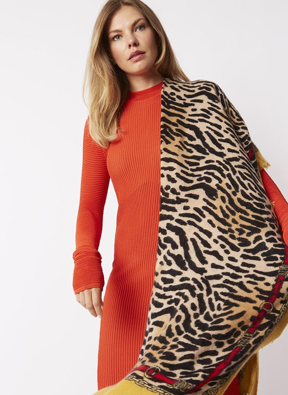 Jayley Cashmere & Silk Blend Scarf With Animal and Stripe Design