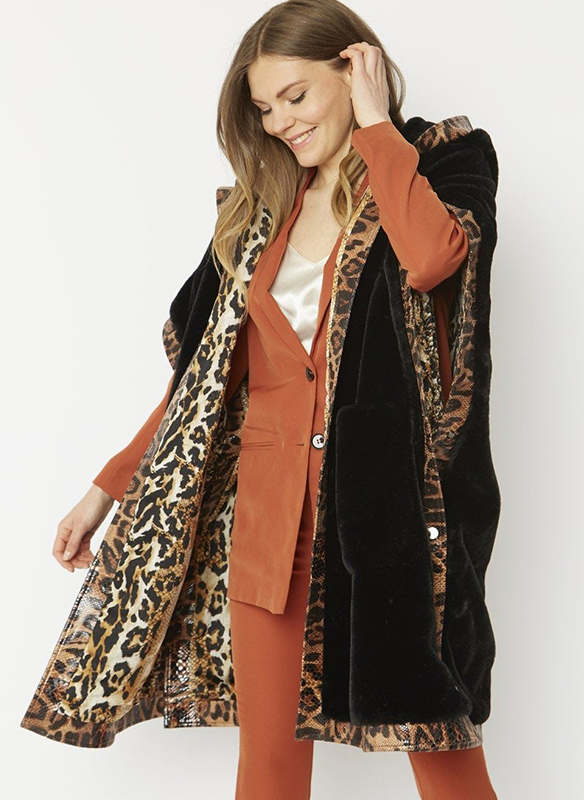Jayley Hooded Faux Fur Cape with Animal Print Trim