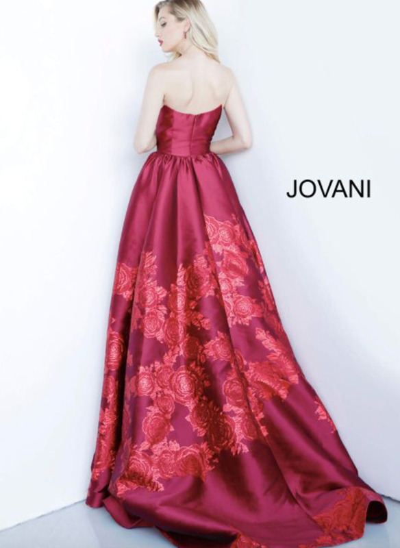 Jovani Embossed Floral Gown