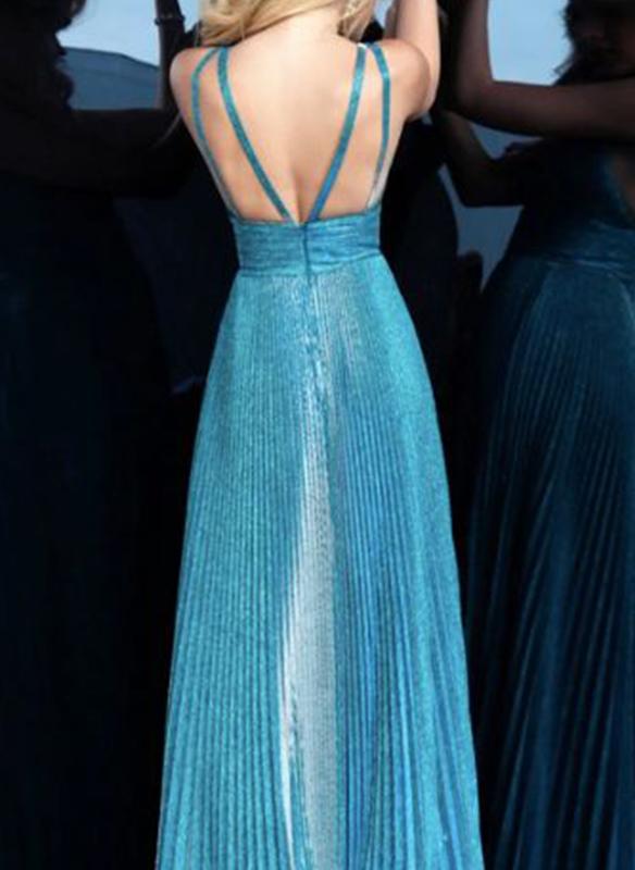 Jovani Glitter Pleated Gown