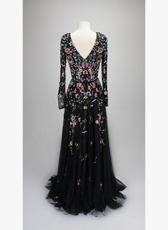 Paul Rekhi Long Sleeve Embellished Floral Gown2