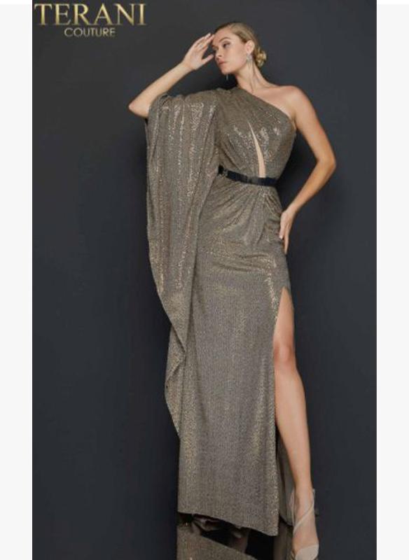 Terani Metallic One Shoulder Gown