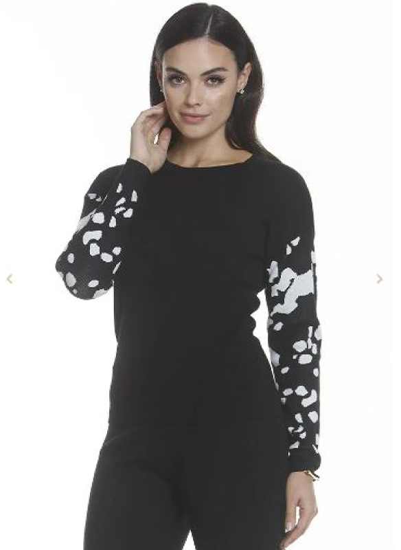 Metric Knits Printed Sleeve Sweater