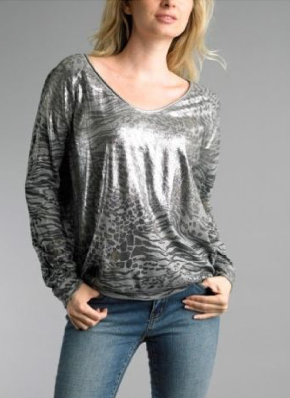Tempo Paris Metallic Printed Sweater