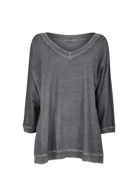 Suzy D Lurex Trim Oversized Top