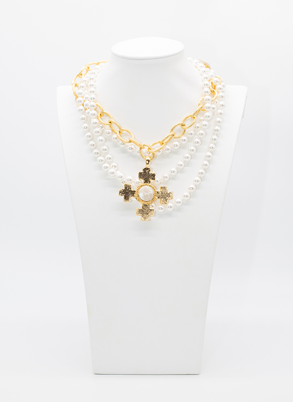 Susan Shaw Pearls & Chain Link Multi Strand with Cross Necklace