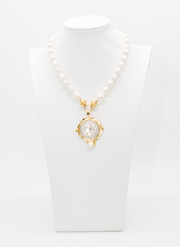 Susan Shaw Pearls With Coin Medallion Necklace