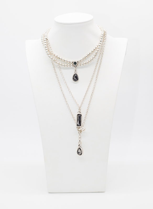 Chanour Multi Layer Crystal Pewter Necklace