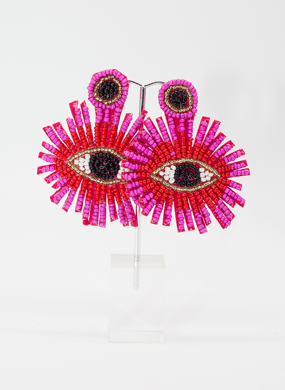 G.S. Pink Evil Eye Earrings