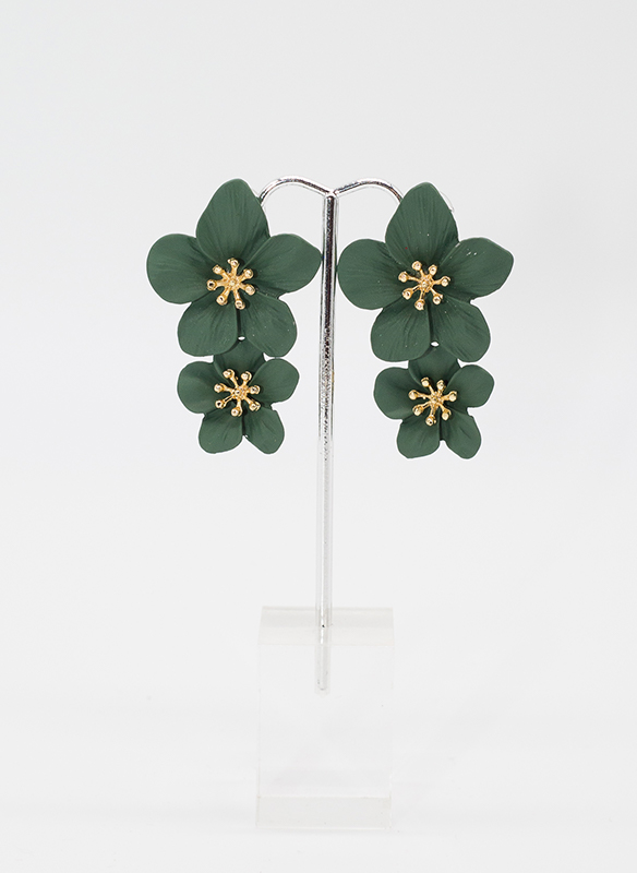 Sonya's Green Metal Flower Earrings