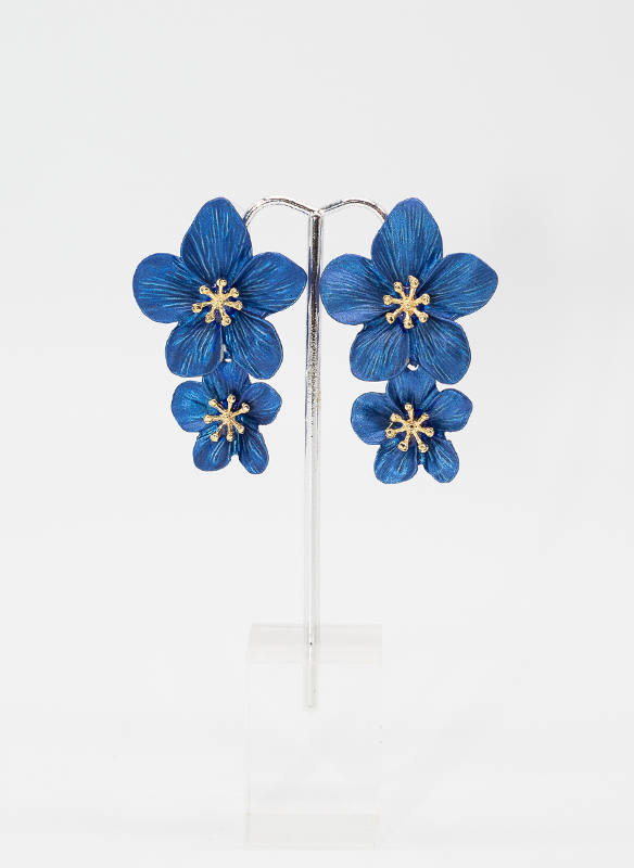 Sonya's Blue Metal Flower Earrings