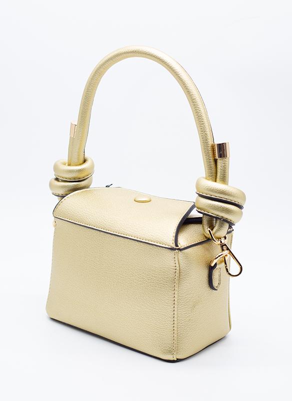 Sondra Roberts Vegan Gold Textured Leather Knot Bag