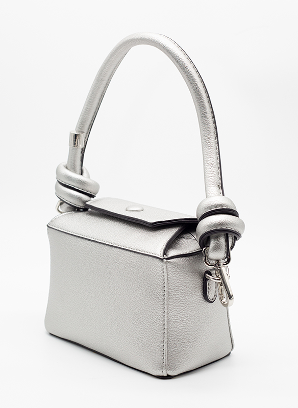 Sondra Roberts Vegan Silver Textured Leather Knot Bag