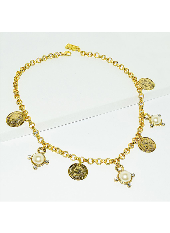 Karina Sultan Gold Coin and Pearl Necklace