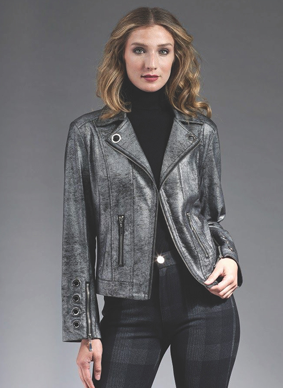 Insight Metallic Vegan Jacket – GunMetal Silver