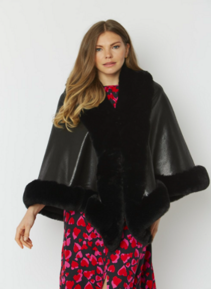 Jayley Faux Suede Snake Print Cape With Faux Fur Trim