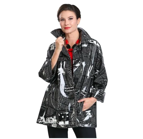 IC Collection Shiny Waterproof Newsprint Jacket