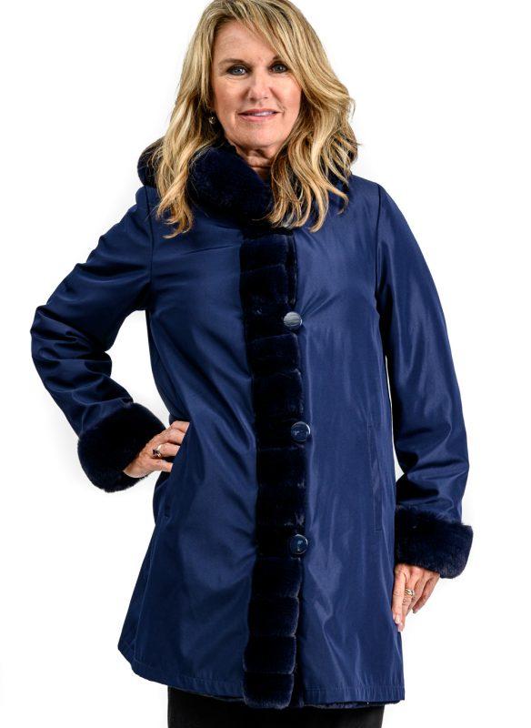 Nuage Reversible Faux Fur Coat – Navy