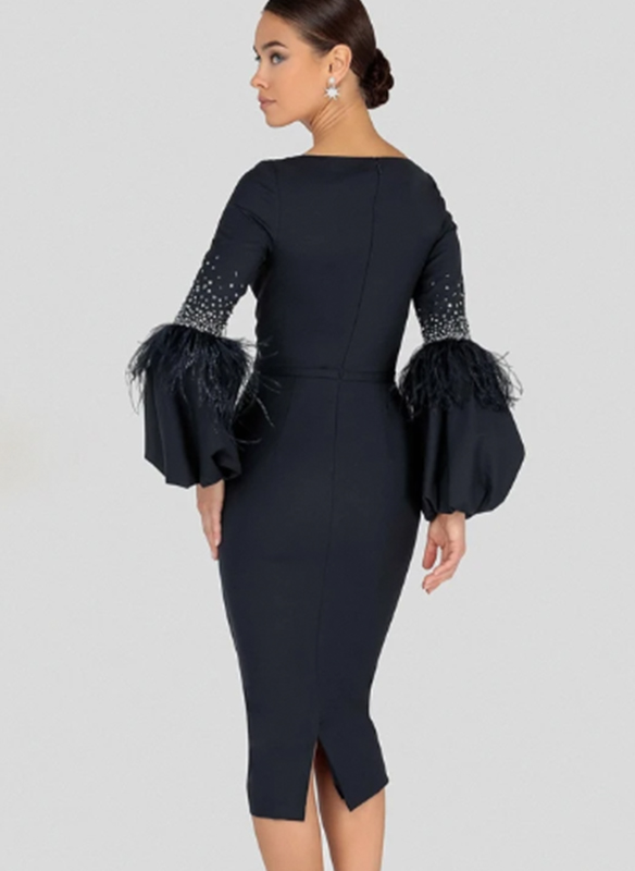 Terani Feathered Bell Sleeve Cocktail Dress