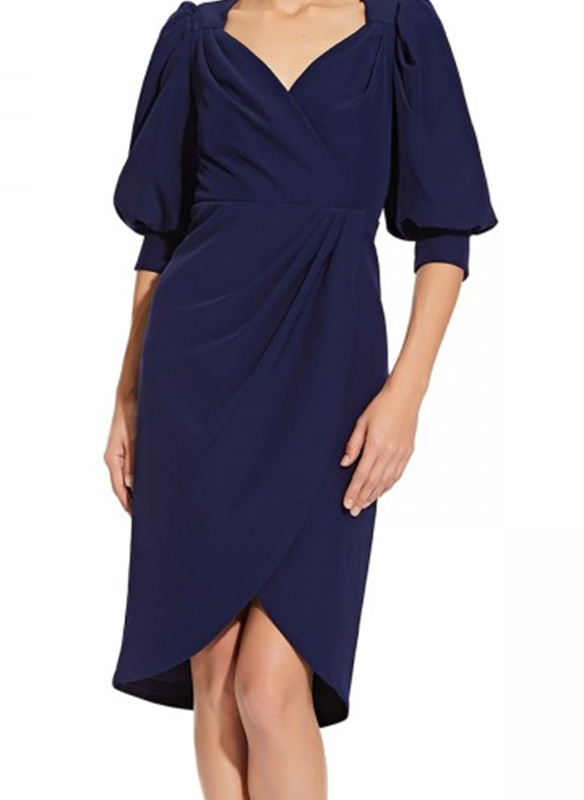 Aidan Mattox Puff Sleeve Cocktail Dress