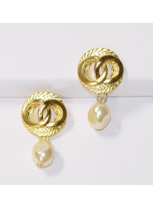 Karina Sultan Gold Knot with Pearl Earrings